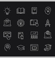 education line icons set white vector image