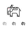 elephant animal bold and thin black line icon set vector image vector image