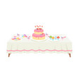festive table with white tablecloth setting with vector image vector image