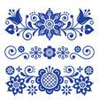 floral folk art greeting card design elements vector image vector image