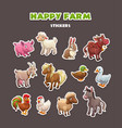 funny farm animals stickers set vector image