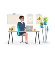 girl working at computer in the office vector image vector image