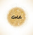 Gold glittering circle on white background vector image