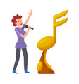 golden trophy isolated woman singing in microphone vector image vector image