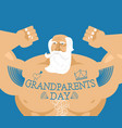 grandparents day strong grandfather with tattoos vector image vector image