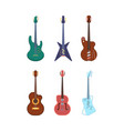 guitars colored set string instruments acoustic vector image