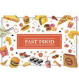 hand drawn fast food elements template vector image vector image