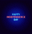 happy independence day neon text vector image vector image