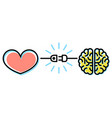 heart and brain interactions concept vector image vector image