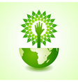 Helping hand make tree on earth vector image vector image