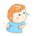 ill boy sneezing cartoon vector image vector image