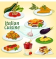 Italian cuisine main and dessert dishes icon vector image