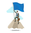 leadership man with flag on vector image