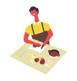 man in apron cooks food and serves in bowls male vector image vector image