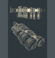 mechanical gearbox drawings vector image vector image