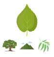 mountain cloud tree branch leafforest set vector image vector image