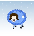 Nice sheep on the winter background vector image vector image