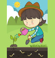 planting tree care vector image vector image