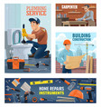 plumber construction worker and tools banner vector image vector image