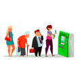 queue to automated teller machine vector image