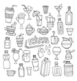 set different hand drawn beverages vector image