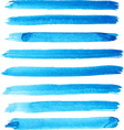 Set of bright blue color brush strokes vector image vector image