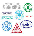 set of christmas postmarks vector image