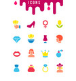 set simple icons womens day vector image