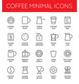 set thin coffee elements and coffee vector image vector image