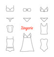 set thin line lingerie icons vector image