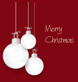shiny white christmas decoration baubles hanging vector image vector image
