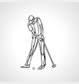 silhouette of golf player outline side view vector image vector image