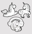 three cute monochrome unicorns stickers on blue vector image vector image
