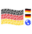 waving germany flag collage of earth icons vector image