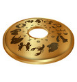 zodiac signs on a gold disk vector image vector image