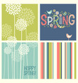retro spring flowers doodles and stripes vector image