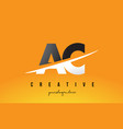 ac a c letter modern logo design with yellow vector image vector image
