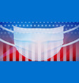 american flag with a medical mask vector image vector image