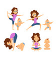baby yoga mutual exercises with mother and her vector image