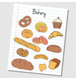 bakery doodles lined paper colored vector image vector image