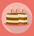 birthday cake icon flat style with long shadow vector image