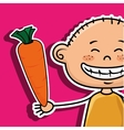 boy vegetables fork carrot vector image