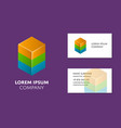 business card template with colorful cube logo vector image vector image