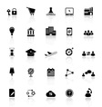 Business connection icons with reflect on white vector image vector image