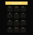 calendar grid 2020 minimal annual