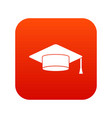 cap student icon digital red vector image vector image