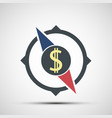 compass icon with dollar sign vector image vector image
