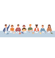 crowd smiling diverse kids sitting at common vector image vector image
