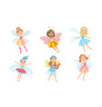cute little fairies in colorful dresses with wings vector image vector image