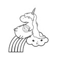 cute unicorn with clouds and rainbow kawaii vector image vector image